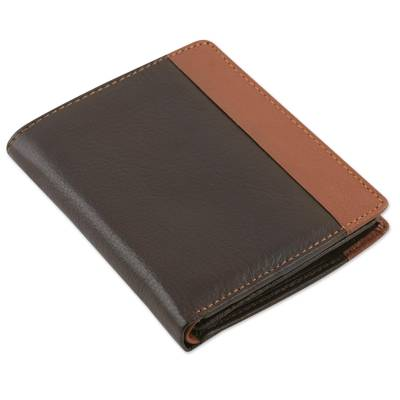 Chocolate Brown and Sepia Multipocket Leather Wallet for Men