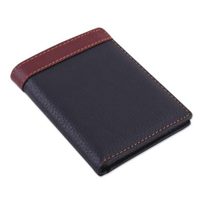 Handsome Leather Wallet for Men in Black and Mahogany