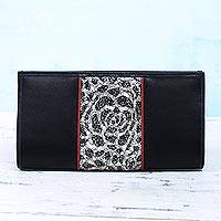 Leather accent satin clutch, 'Innocent Black' - Leather and Lace Accent Satin Clutch Handbag from India