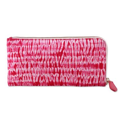Batik Cotton Clutch Handbag in Cherry from India
