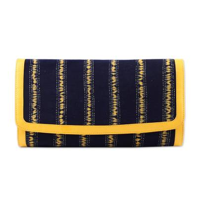 Batik Striped Cotton Clutch in Maize and Black from India