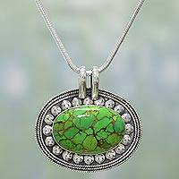 Sterling silver pendant necklace, 'Blissful Meadow' - Green Composite Turquoise Indian Sterling Silver Necklace
