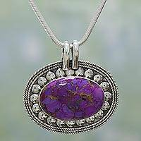 Sterling silver pendant necklace, 'Blissful Purple' - Purple Composite Turquoise Indian Sterling Silver Necklace
