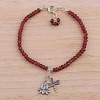 Garnet beaded bracelet, Dragonfly Lotus - Garnet and Sterling Silver Beaded Bracelet from India