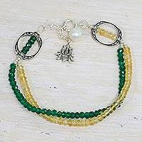 Aventurine and citrine beaded bracelet, 'Lotus Mystique' - Aventurine Citrine and Cultured Pearl Bracelet from India