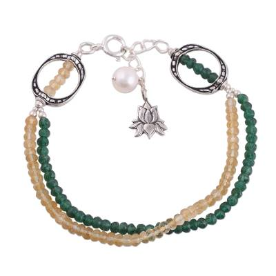 Aventurine Citrine and Cultured Pearl Bracelet from India