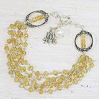 Citrine and cultured pearl beaded bracelet, 'Lotus Beauty' - Citrine and Cultured Pearl Beaded Bracelet from India