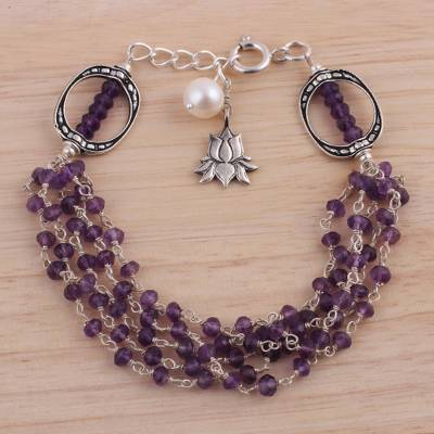 Amethyst and cultured pearl beaded bracelet, 'Lotus Beauty' - Amethyst and Cultured Pearl Beaded Bracelet from India