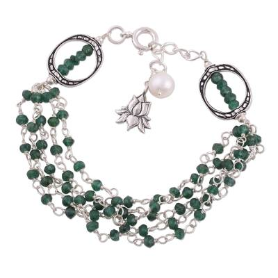 Aventurine and Cultured Pearl Beaded Bracelet from India