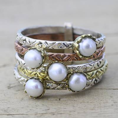 Cultured Pearl and Sterling Silver Ring from India
