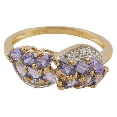 Gold Plated Tanzanite and White Topaz Multi Stone Ring
