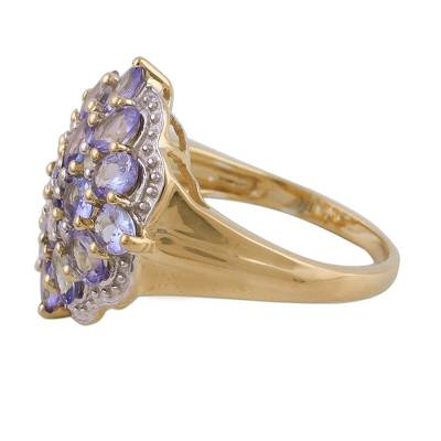 Tanzanite and white topaz cocktail ring, 'Lilac Allure' - Tanzanite and White Topaz Gold-Plated Cocktail Ring
