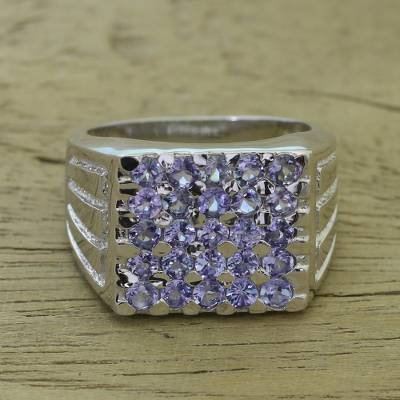 Tanzanite cocktail ring, 'Dazzling Image' - Rhodium Plated Tanzanite Cocktail Ring from India
