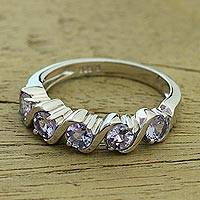 Tanzanite multi-stone ring, 'Enchanting Enigma' - Rhodium Plated Tanzanite Multi Stone Ring from India