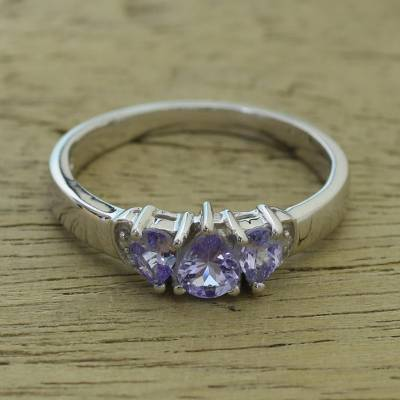 Tanzanite multi-stone ring, 'Simple Enchantment' - Rhodium Plated Purple Tanzanite Multi Stone Ring from India