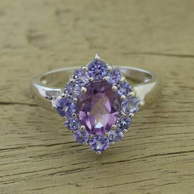 Amethyst and tanzanite cocktail ring, 'Sweet Purple' - Purple Tanzanite and Amethyst Cocktail Ring from India