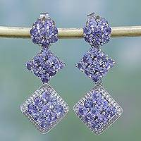 Rhodium plated tanzanite dangle earrings, 'Regal Sparkle' - Rhodium Plated Tanzanite Dangle Earrings from India