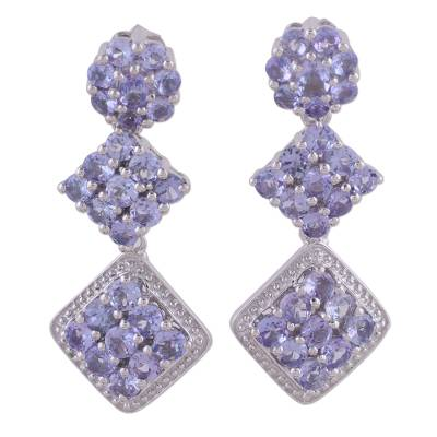 Rhodium Plated Tanzanite Dangle Earrings from India