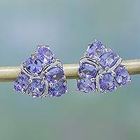 Rhodium plated tanzanite stud earrings, 'Carefree Sparkle' - Rhodium Plated Tanzanite Stud Earrings from India