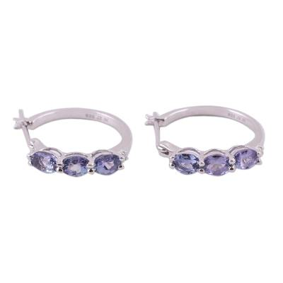 Tanzanite and Topaz Hoop Earrings from India