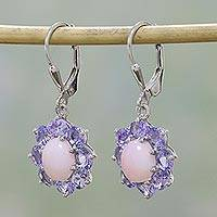 Rhodium plated opal and tanzanite dangle earrings,