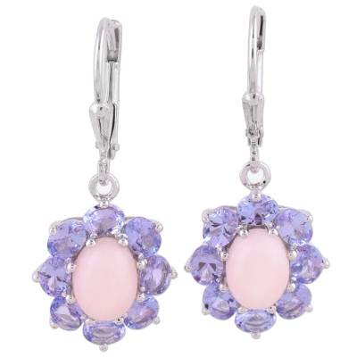 Rhodium Plated Opal and Tanzanite Dangle Earrings from India