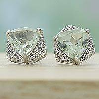 Rhodium plated prasiolite and topaz stud earrings,