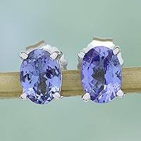 Rhodium plated tanzanite stud earrings, 'Flawless Illusion' - Rhodium Plated Tanzanite Stud Earrings from India