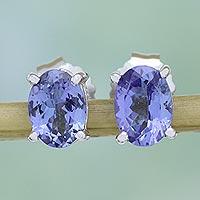 Rhodium plated tanzanite stud earrings,