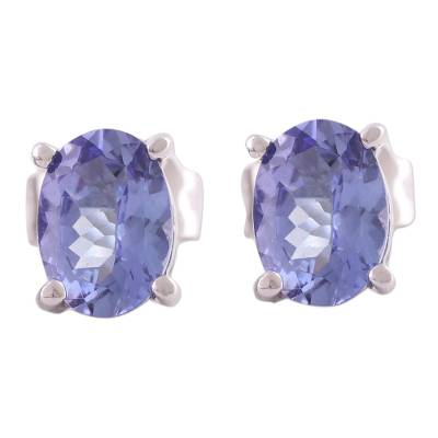 Rhodium Plated Tanzanite Stud Earrings from India