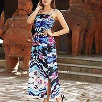 Silk maxi dress, 'Prismatic Charm' - Indian Multi Color Printed Maxi Dress with Adjustable Straps