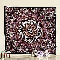 Cotton wall hanging, 'Magnificent Mandala' - Printed Cotton Floral Mandala Wall Hanging from India