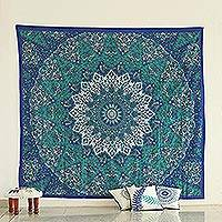 Cotton wall hanging, 'Magnificent Mandala in Blue' - Printed Mandala Floral Wall Hanging in Blue from India