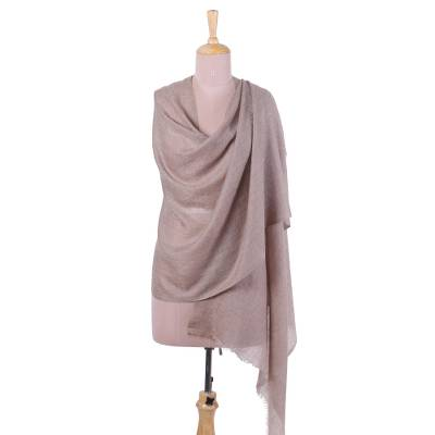 Cashmere shawl, 'Taupe Changthang' - Handwoven Cashmere Wool Shawl in Taupe from India