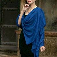 Cashmere shawl, 'Changthang Royalty' - Handwoven Cashmere Wool Shawl in Royal Blue from India