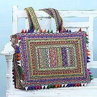 Cotton shoulder bag, 'Classic Colors' - Handcrafted Multicolored Patchwork Shoulder Bag from India