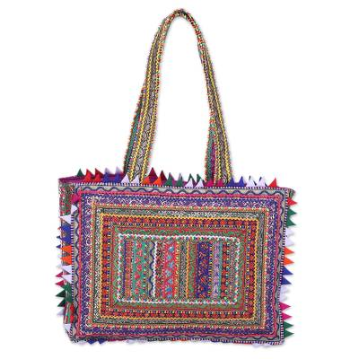 Handcrafted Multicolored Patchwork Shoulder Bag from India