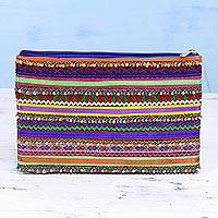 Applique clutch, 'Garden of Stripes' - Handcrafted Multicolored Polyester Rabari Clutch from India