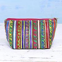 Embellished cosmetic bag, 'Beauty of Kutch' - Handcrafted Multicolored Cotton Rabari Cosmetic Bag