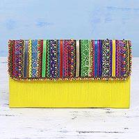 Embellished clutch, 'Morning Sun' - Handcrafted Multicolored Polyester Rabari Clutch from India