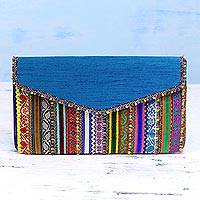 Embellished clutch, 'Indian Beauty' - Handcrafted Multicolored Polyester Rabari Clutch from India