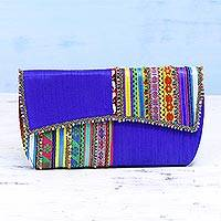 Embellished clutch, 'Lapis Glamour' - Handcrafted Multicolored Polyester Rabari Clutch from India
