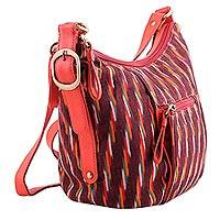 Leather accent tie-dye cotton hobo handbag, 'Tropical Extravagance' - Leather Accent Ikat Cotton Hobo Handbag in Cherry from India