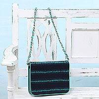 Leather accent batik cotton sling bag, 'Ocean Serenade' - Leather Accent Batik Cotton Sling in Viridian and Midnight