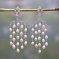 Cultured pearl and quartz waterfall earrings, 'Divine Beauty' - Cultured Pearl and Quartz Waterfall Earrings from India