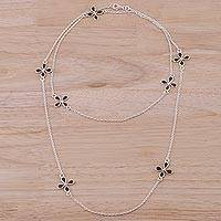 Smoky quartz long station necklace, 'Whimsical Flowers' - Sterling Silver and Smoky Quartz Station Necklace from India
