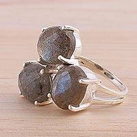 Labradorite multi-stone ring, 'Bold Trio' - Labradorite and Sterling Silver Multi Stone Ring from India