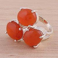 Carnelian multi-stone ring, 'Bold Trio' - Carnelian and Sterling Silver Multi Stone Ring from India