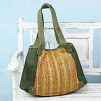Cotton tote handbag, 'Sunset Cruise II' - Leather Accent Olive Green Cotton Tote Handbag from India