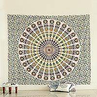 Cotton wall hanging, 'Mandala Garden' - Circular Floral Printed Cotton Wall Hanging from India